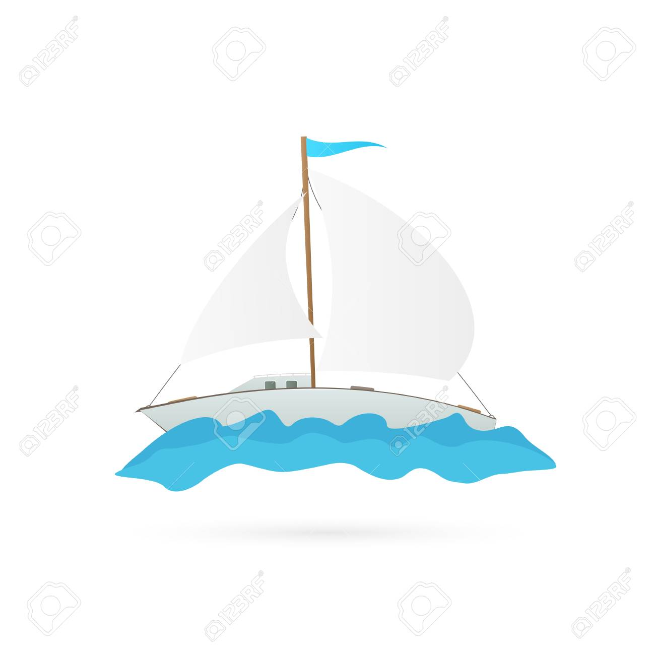Illustration of a sailboat isolated on a white background. - 97016103