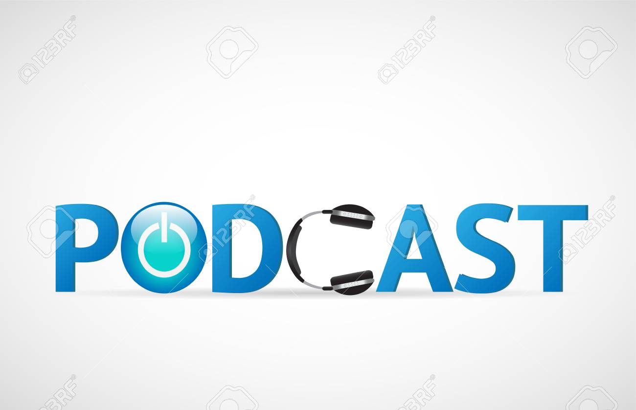 Illustration of the word Podcast with headphones isolated on a white background. - 97016104