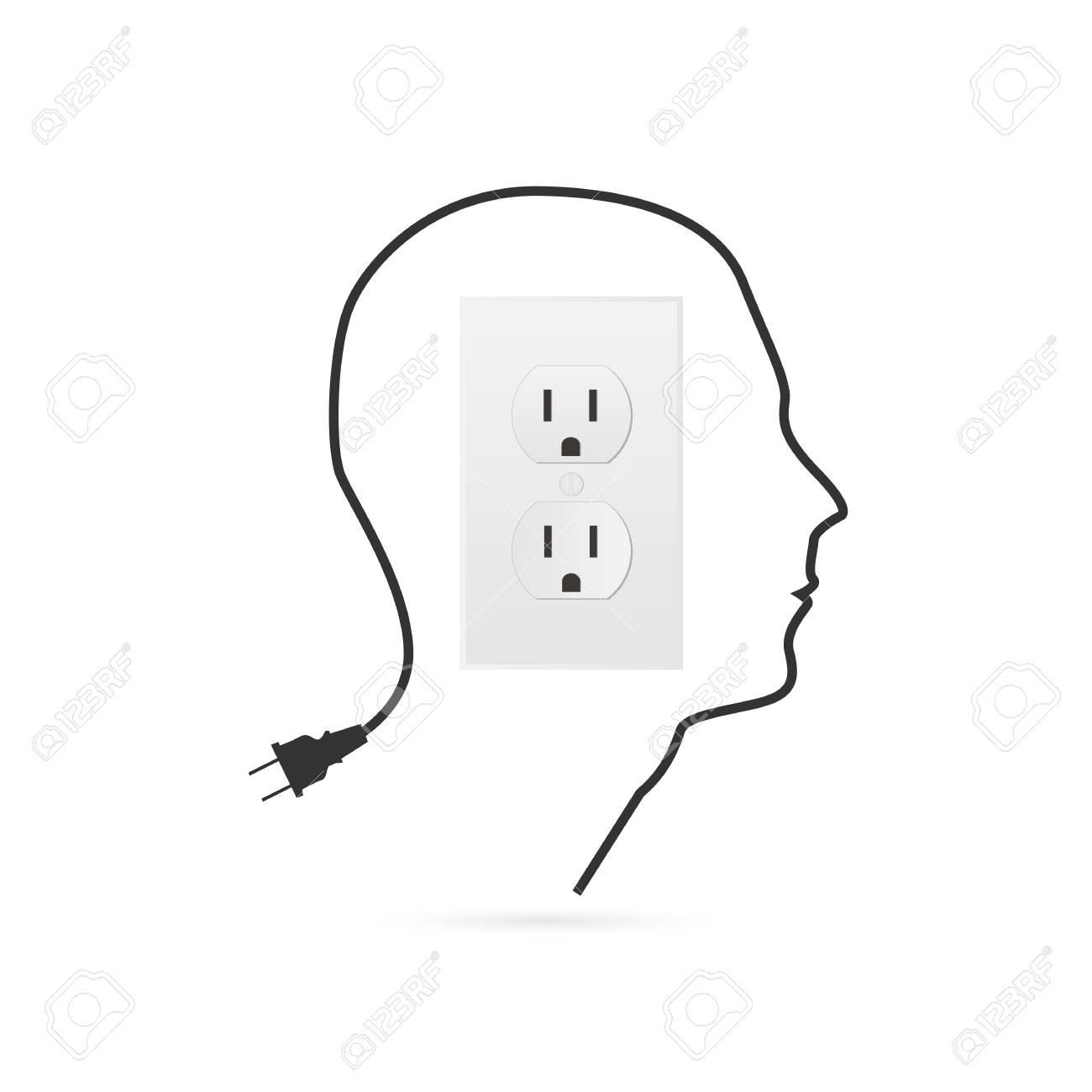 Illustration of a power outlet design isolated on a white background. - 97016106