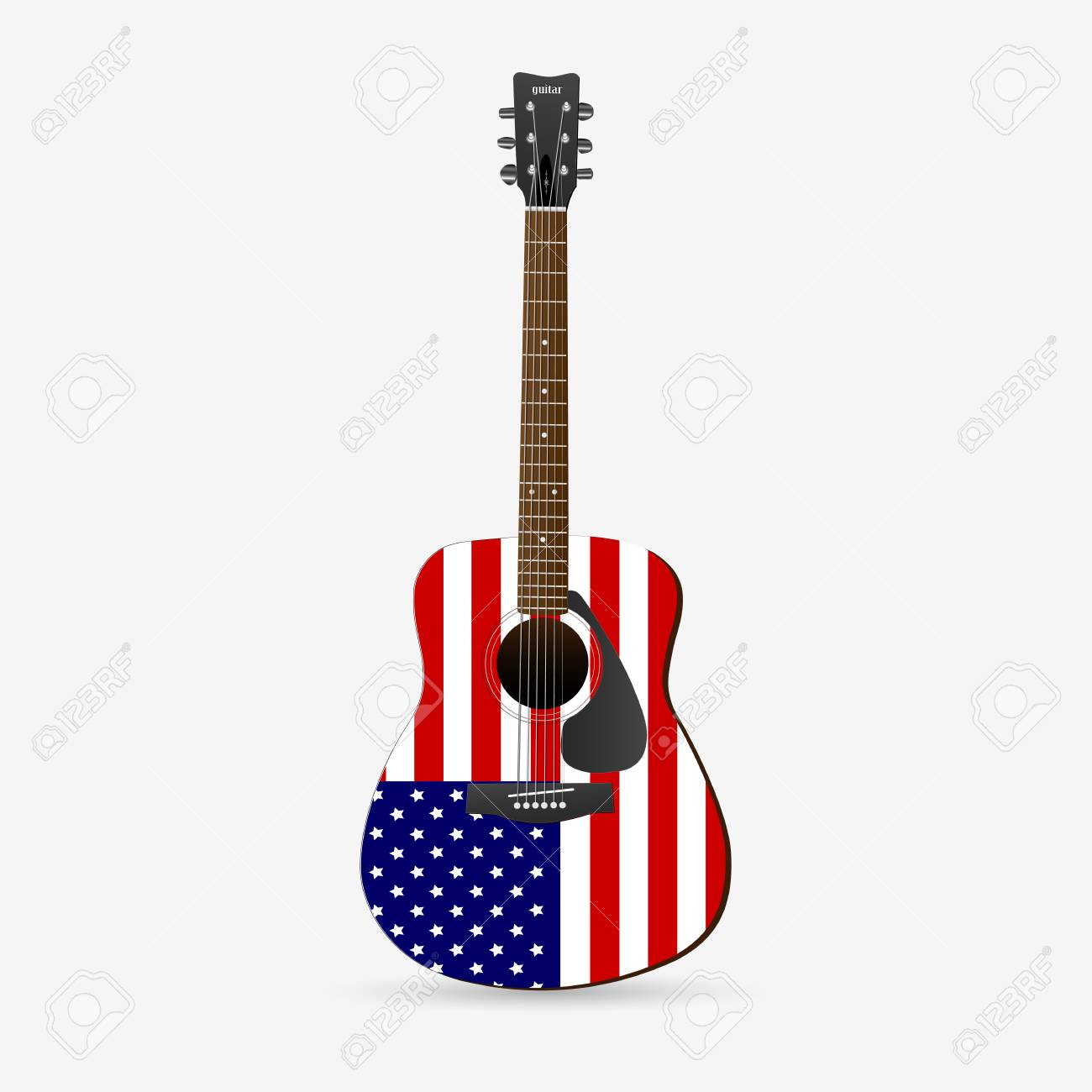 Illustration of a red, white and blue guitar isolated on a white background. - 97016107