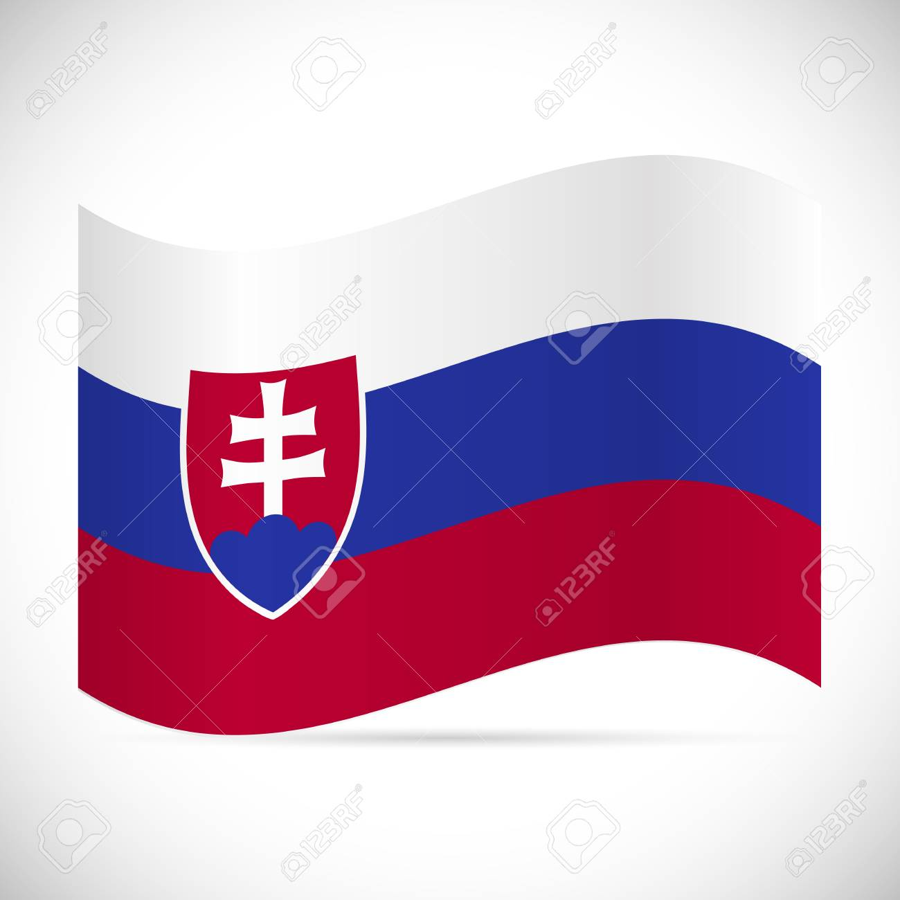 Illustration of the flag of Slovakia isolated on a white background. - 97101988