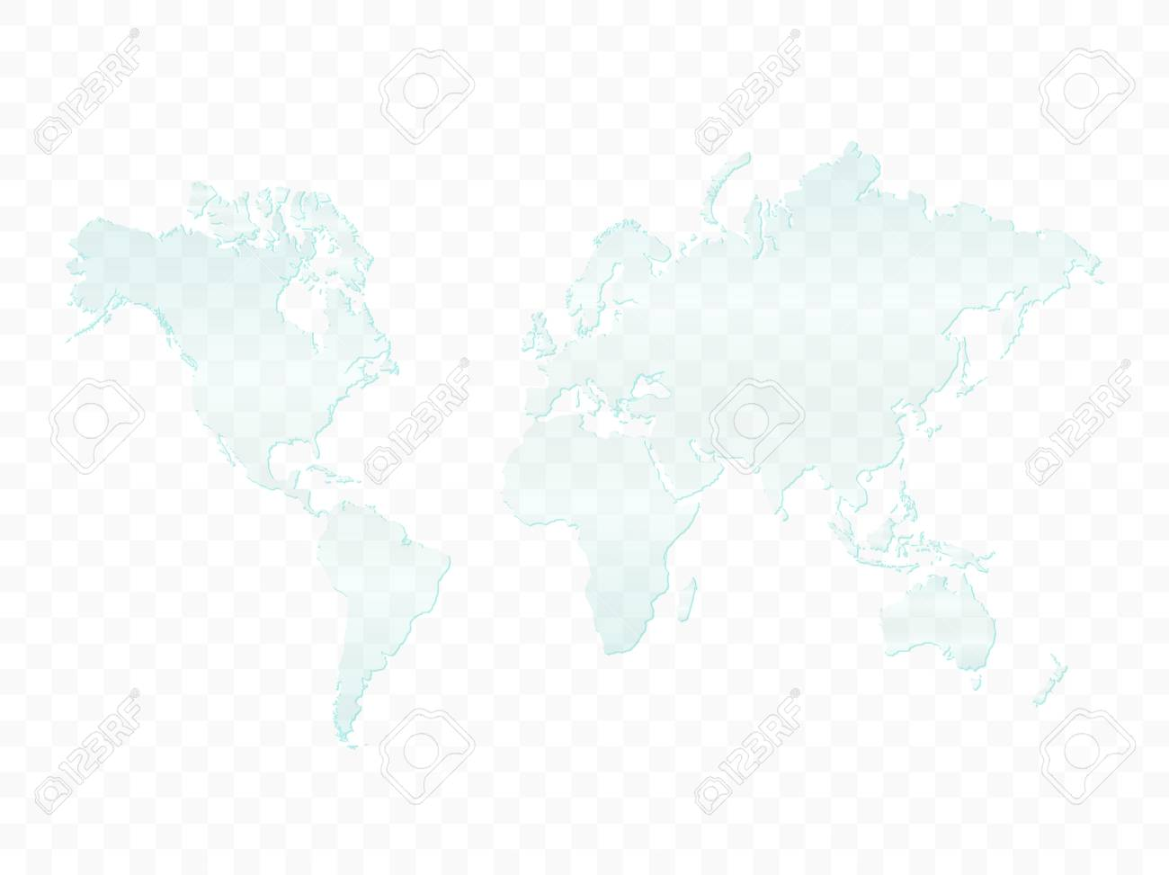 Illustration of a glass world map isolated on a checkered background. - 97016238