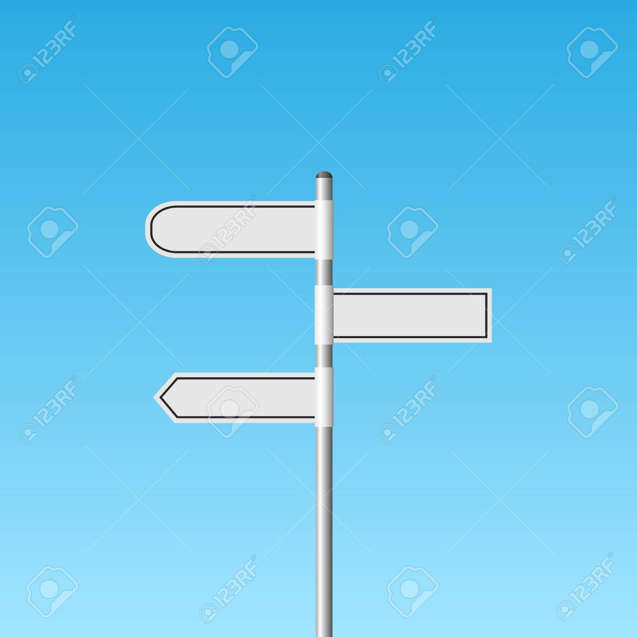 Illustration of a blank white signpost against a blue sky background. - 97016239
