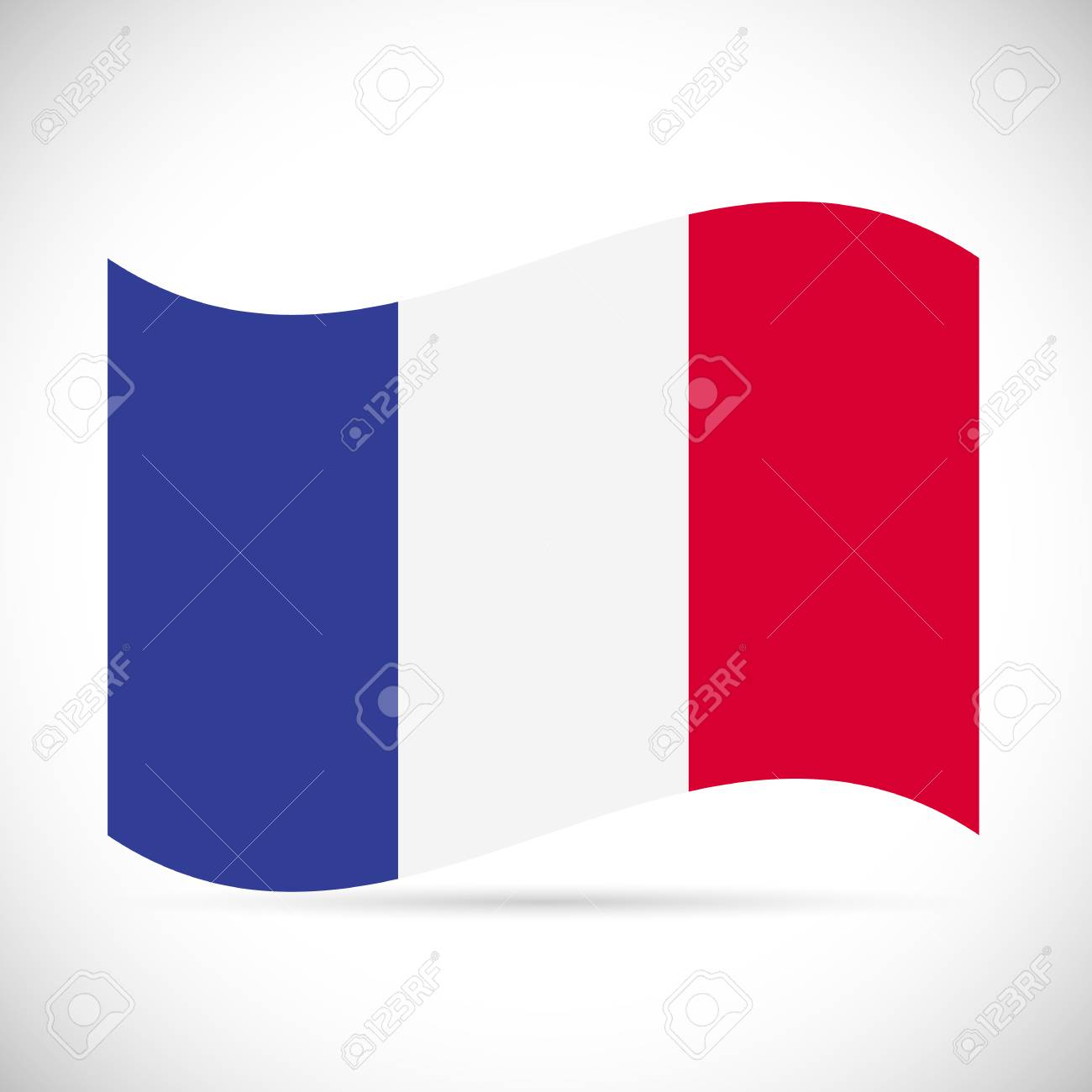 Illustration of the flag of France isolated on a white background. - 97102071