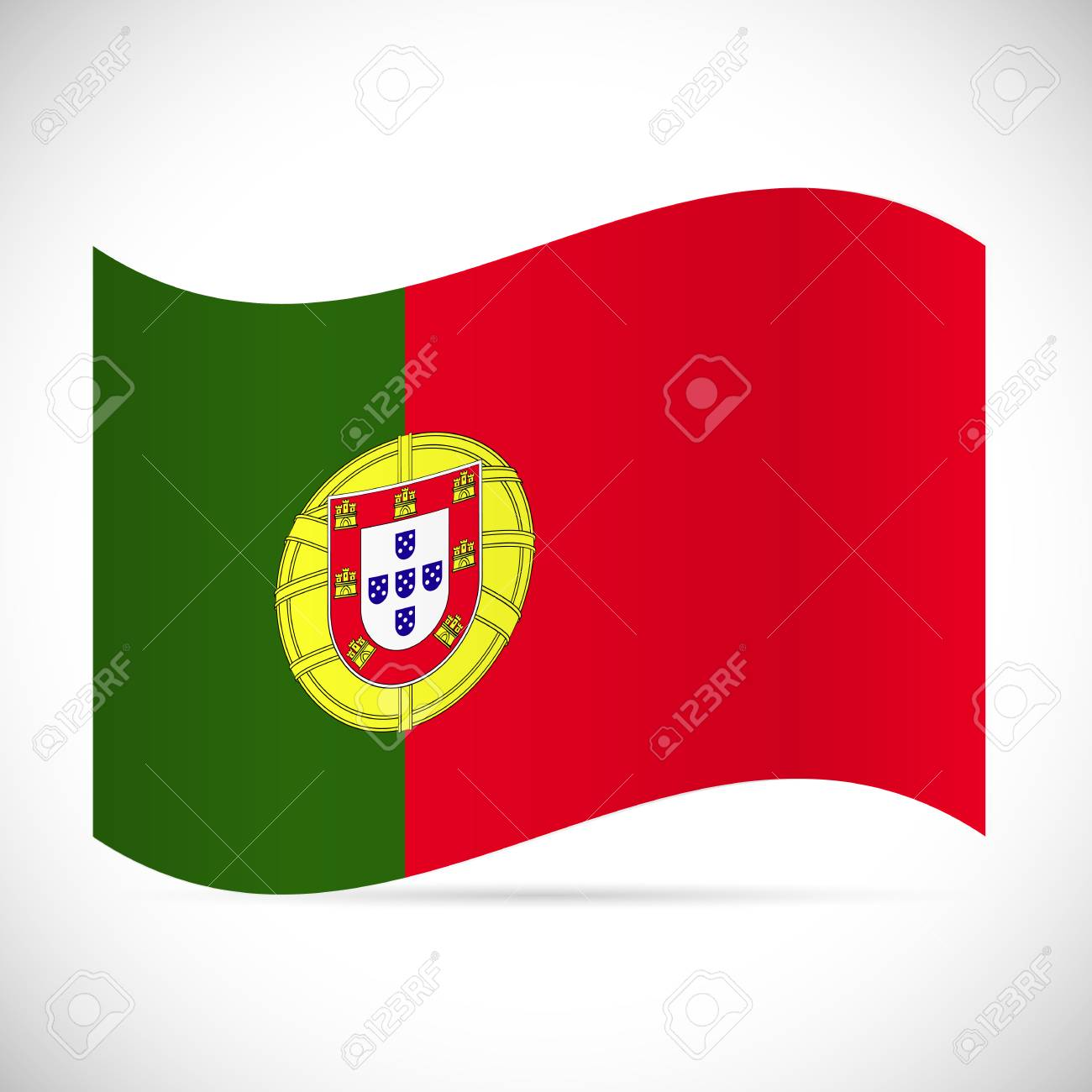 Illustration of the flag of Portugal isolated on a white background. - 97016259