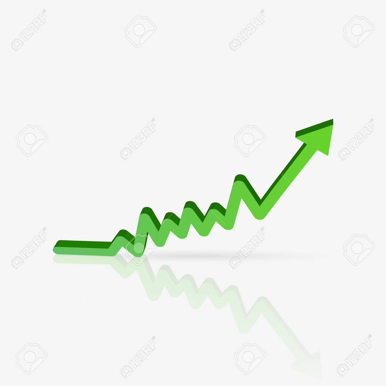 Illustration of a green sales chart isolated on a white background. - 97102072