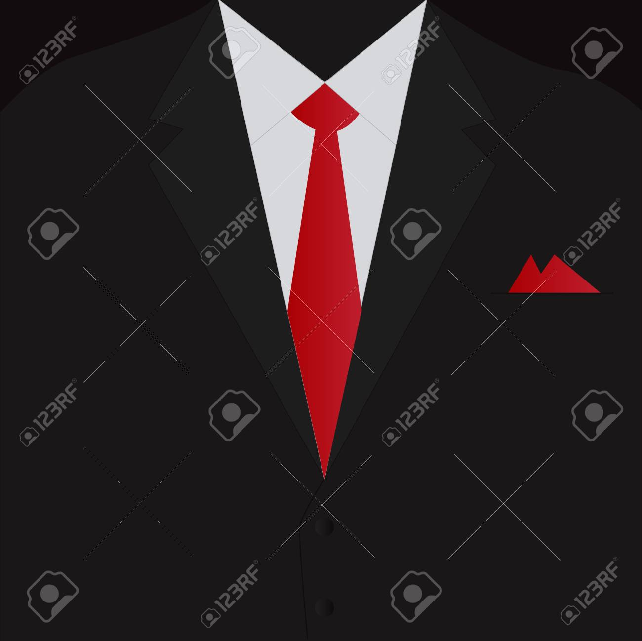 Illustration of a black business suit and red tie. - 97016393
