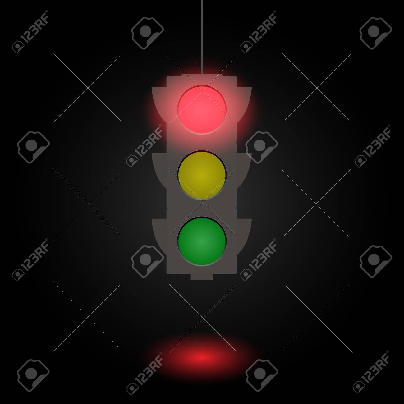 Flat illustration of a traffic light isolated on a dark background. - 97016395