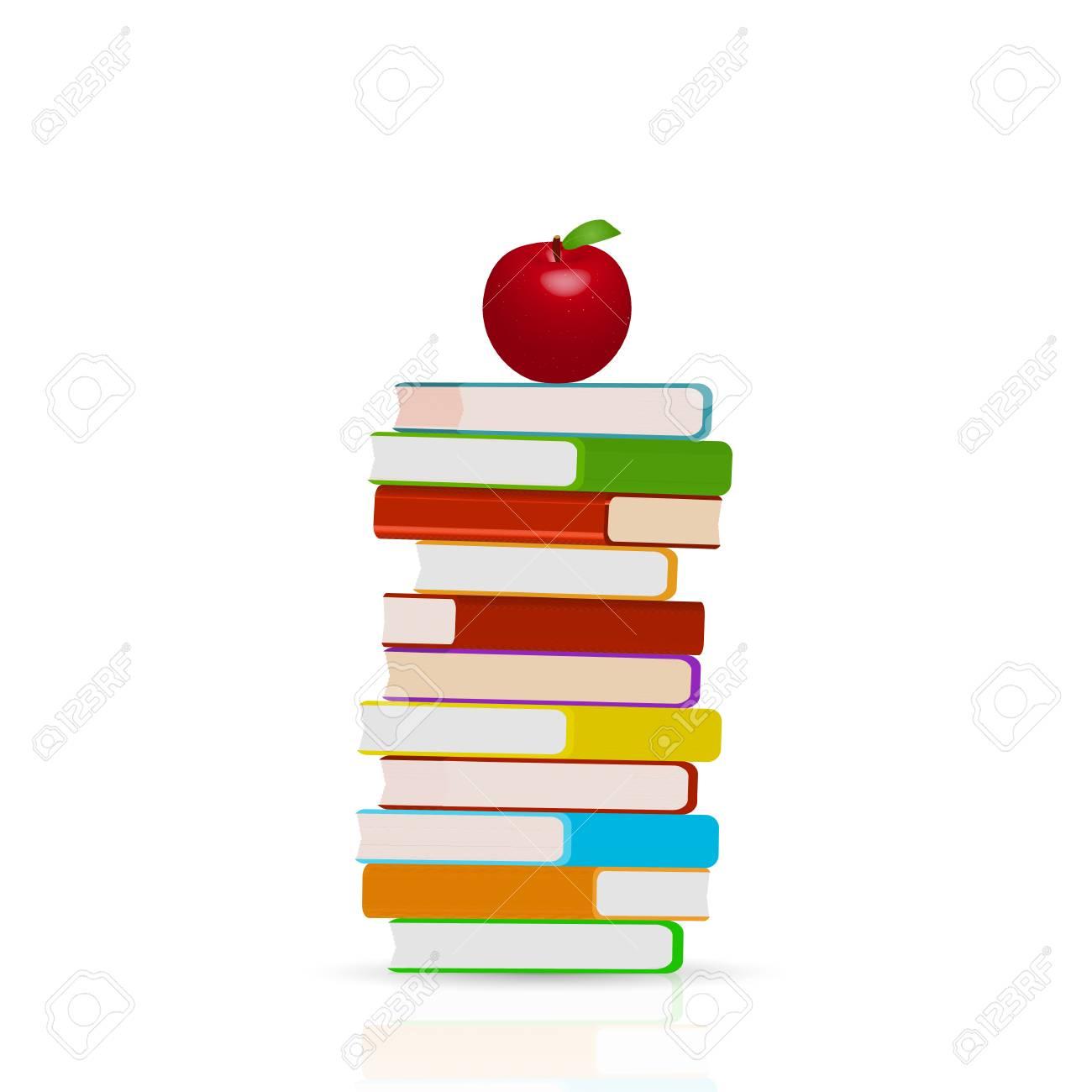 Illustration D 39 Une Pile De Livres Et Pomme Isole Sur Un Fond Blanc