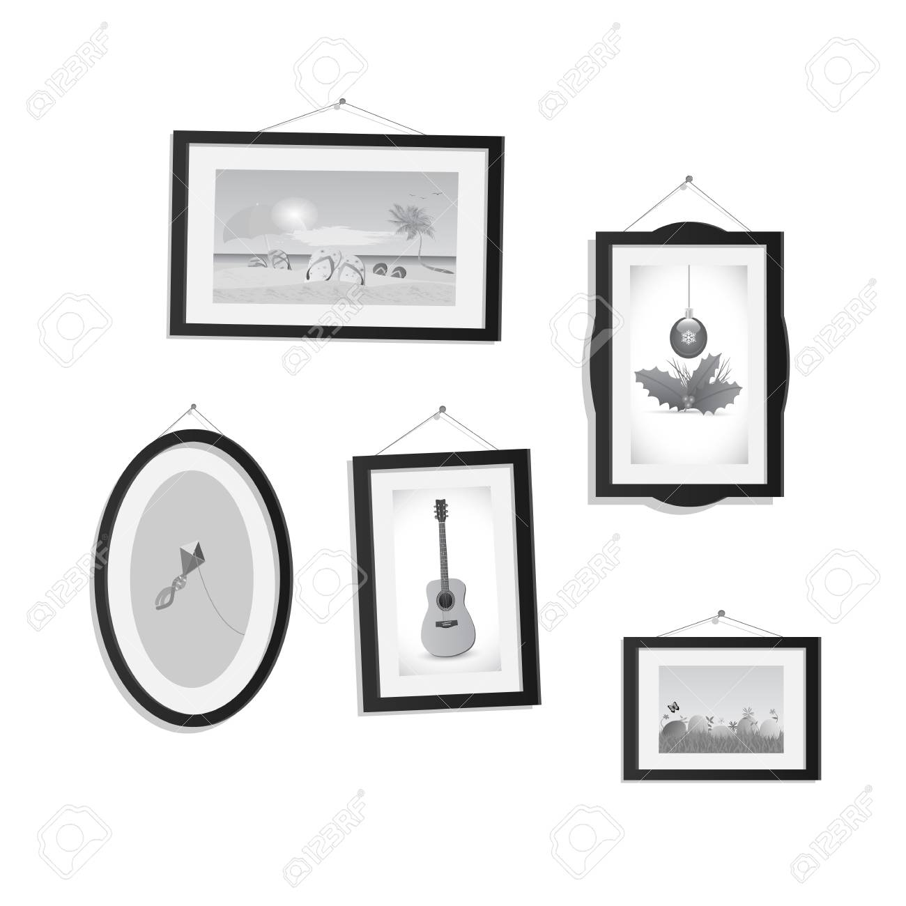 Illustration of hanging frames with pictures isolated on a white background. - 97016399