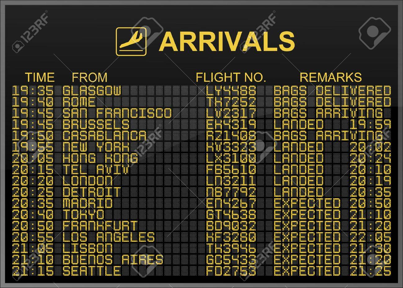 International Airport Arrivals Board Stock Photo - 5021783