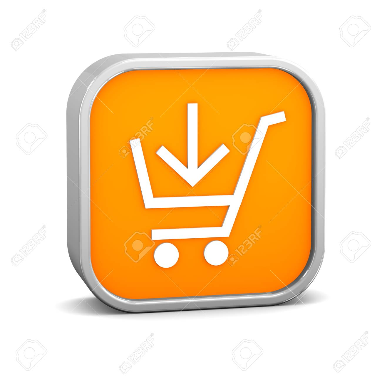 Orange add to cart sign on a white background. Part of a series. Stock Photo - 6919279