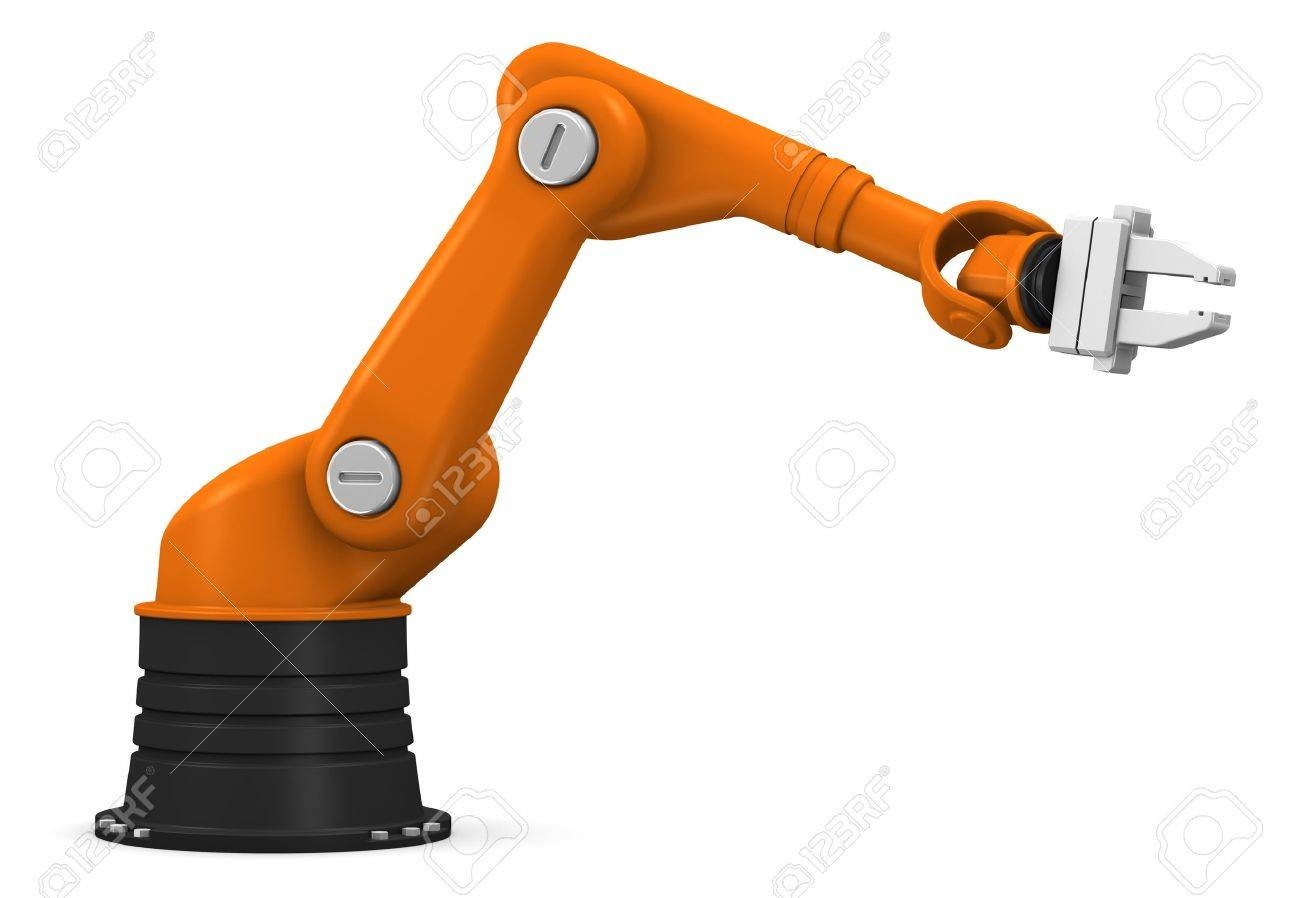 Industrial robotic arm isolated on white background Stock Photo - 9616902