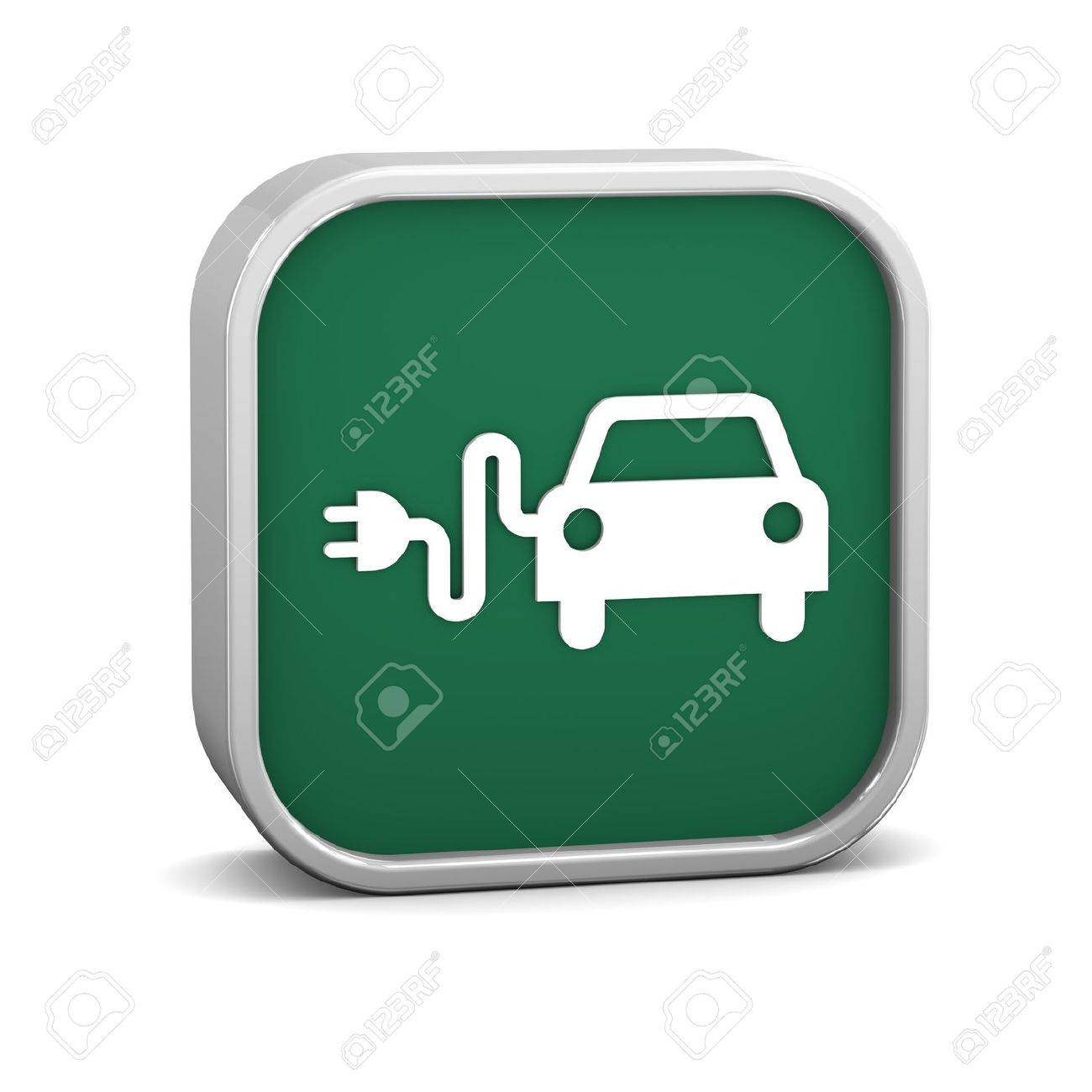 Electric Car Sign On A White Background Part Of A Series Stock