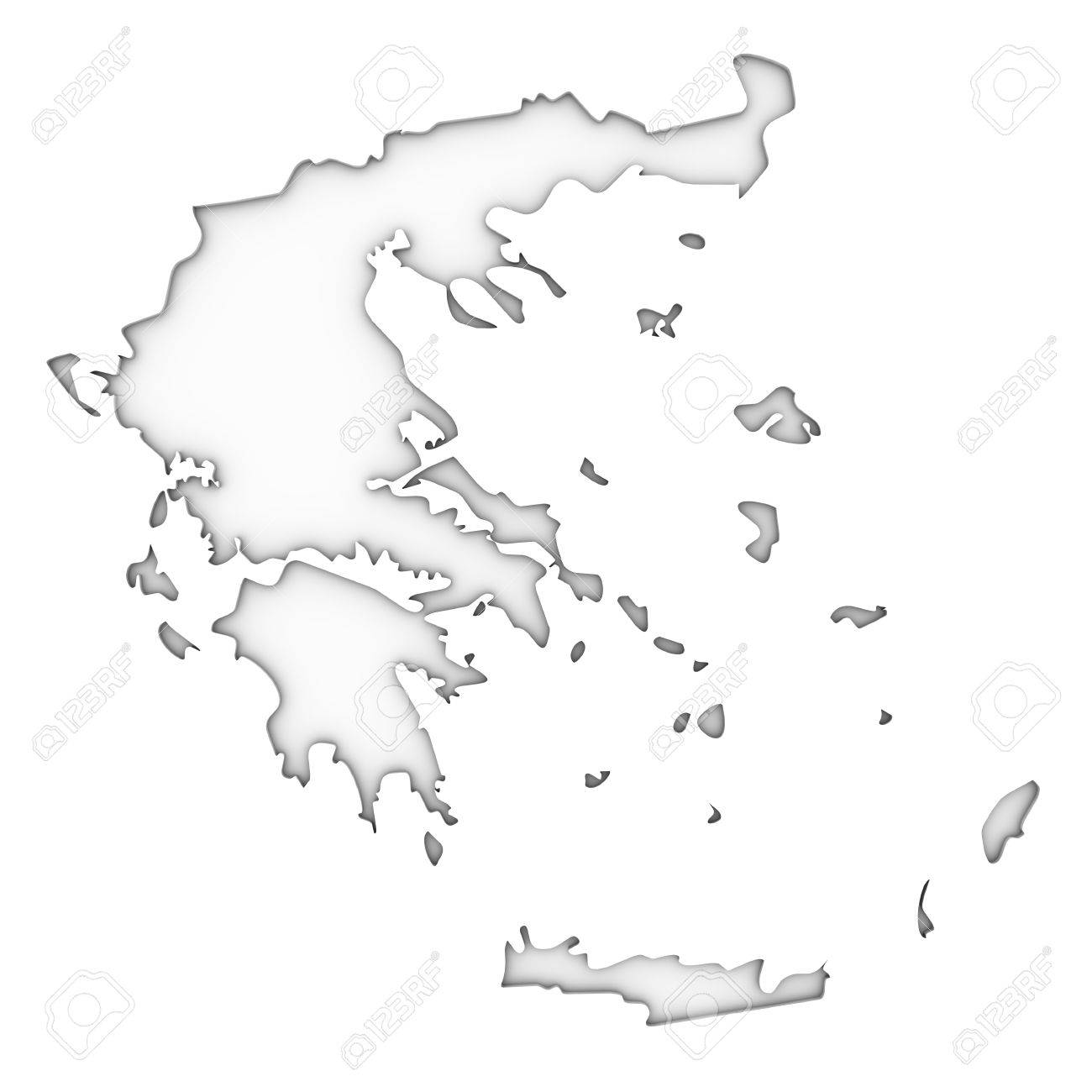 Greece Map On A White Background Part Of A Series Stock Photo - Greece map