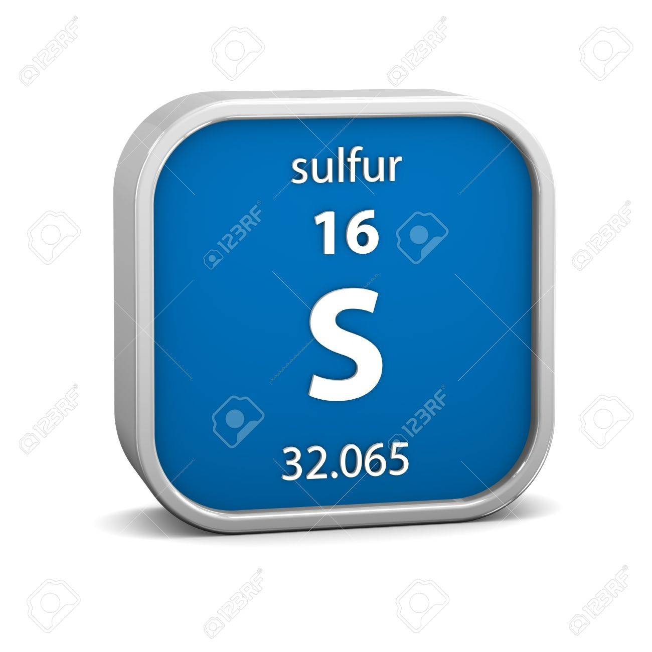 Sulfur Material On The Periodic Table Part Of A Series Stock Photo