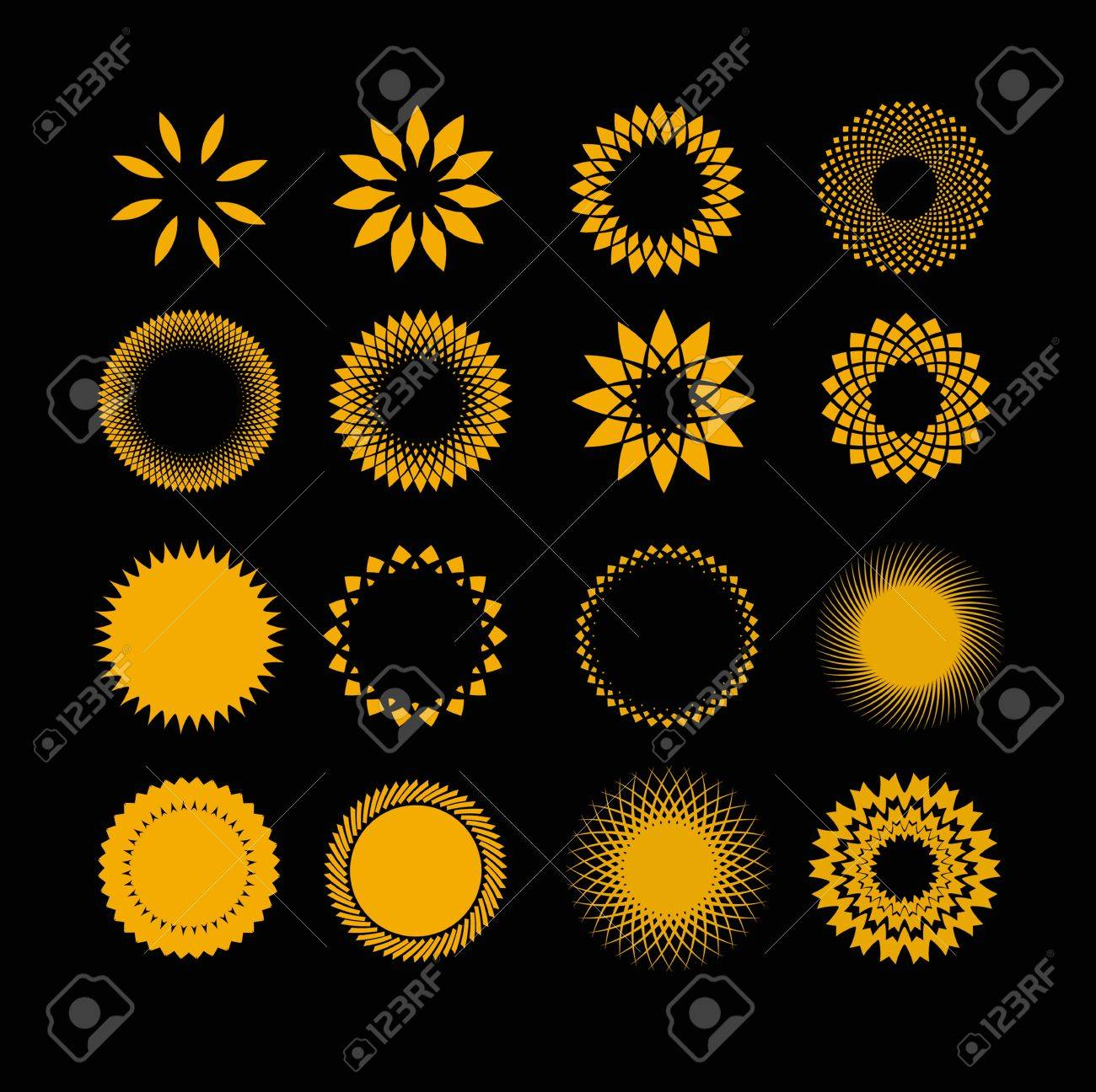 Symbols Sun In Set Royalty Free Cliparts Vectors And Stock