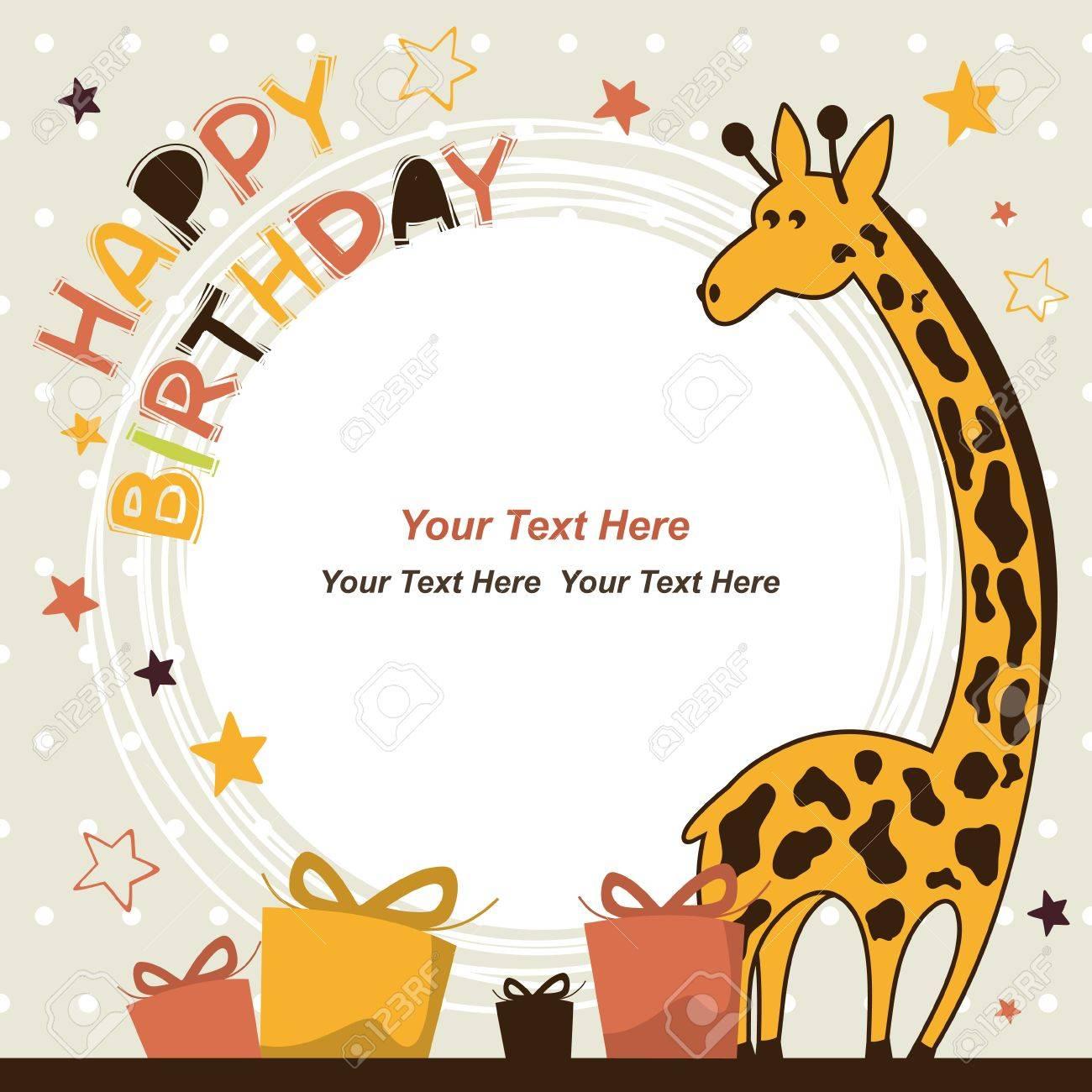 Tarjeta De Cumpleaños Con Jirafa Feliz