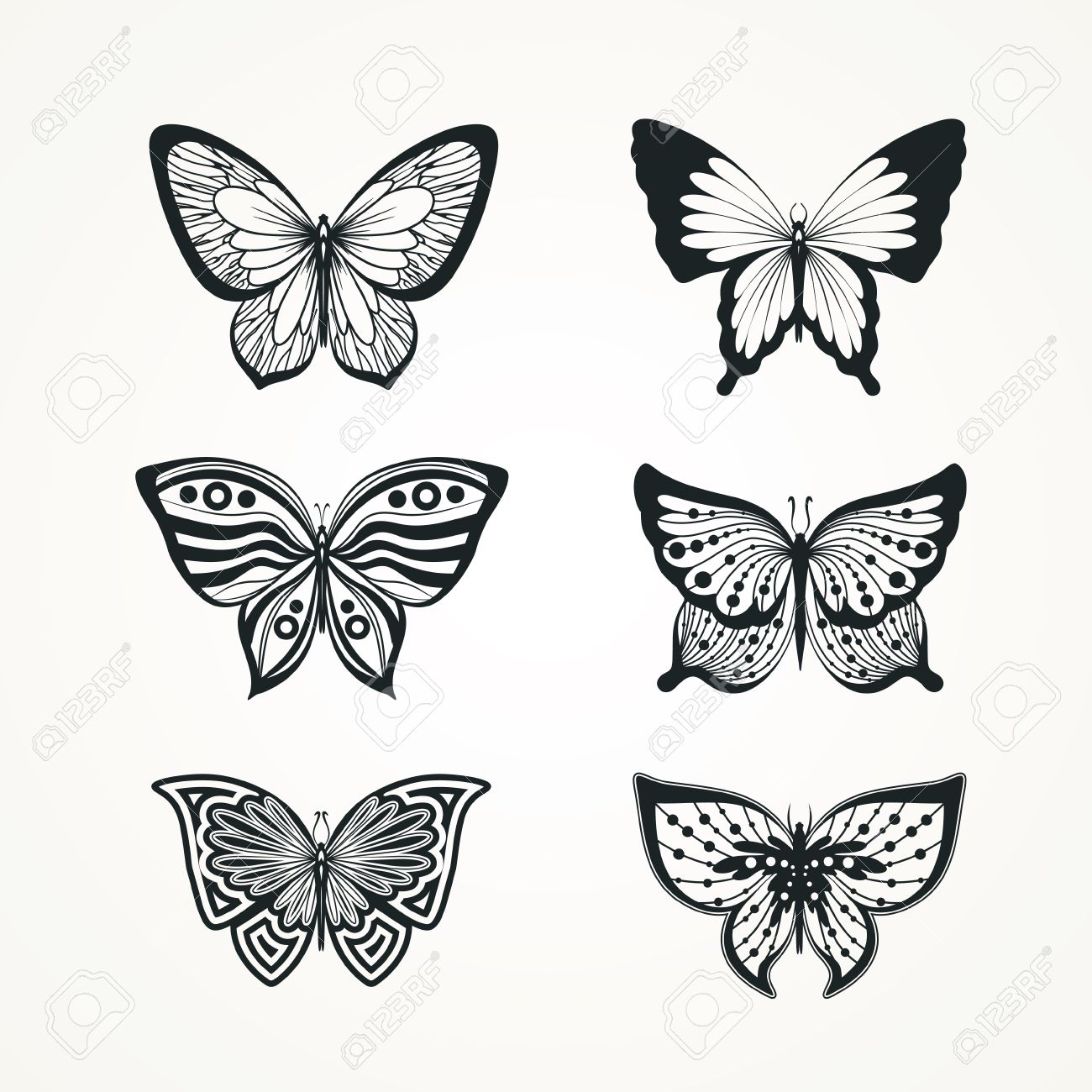 56bb2fce4d222 Collection Of Stylized Butterfly Tattoo Royalty Free Cliparts ...
