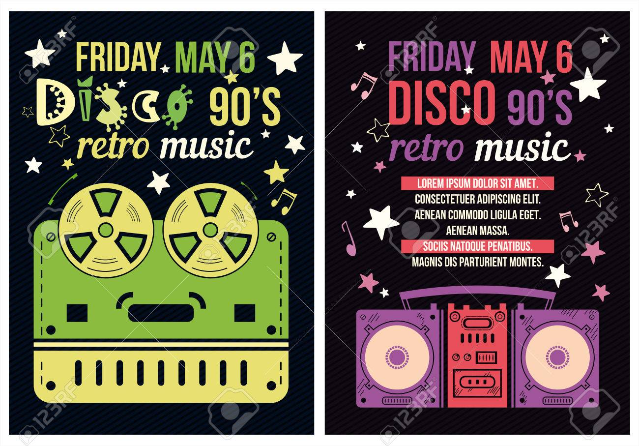 Retro Poster S Party Flyer With A Tape Recorder Royalty Free - 90s party invitation template