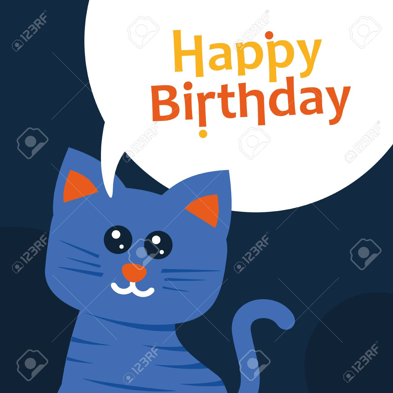 Happy Birthday Greeting Card Cat Flat Design Stock Vector