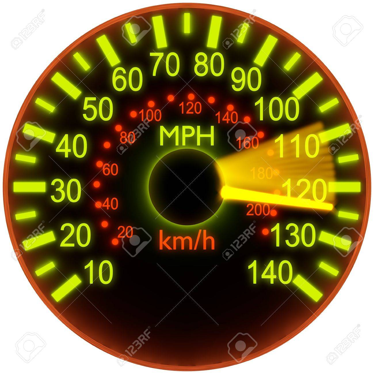 3d illustration of speedometer with bright glow Stock Photo - 9327419