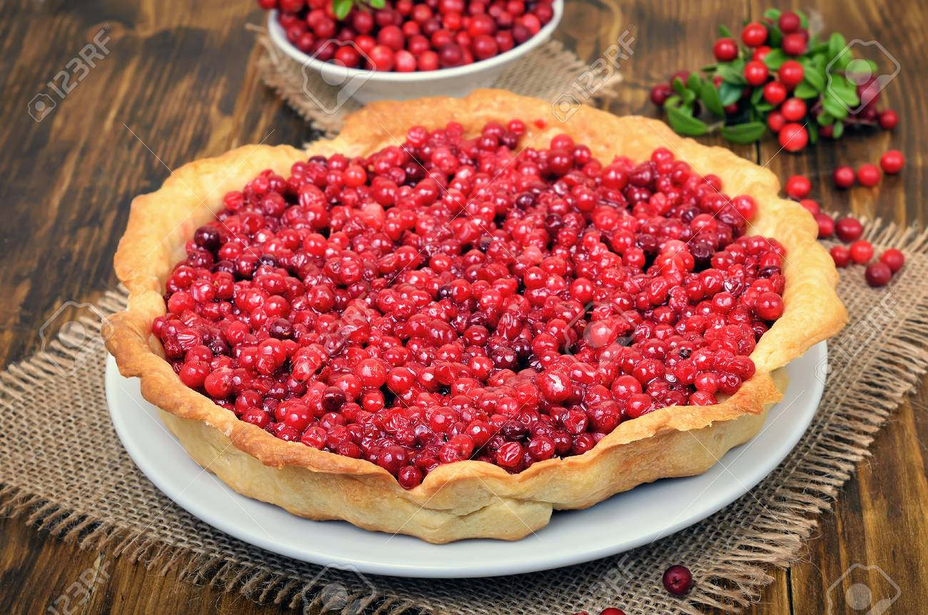 Homemade Lingonberry Pie On Wooden Table, Close Up Stock Photo, Picture And Royalty Free Image. Image 87593020.