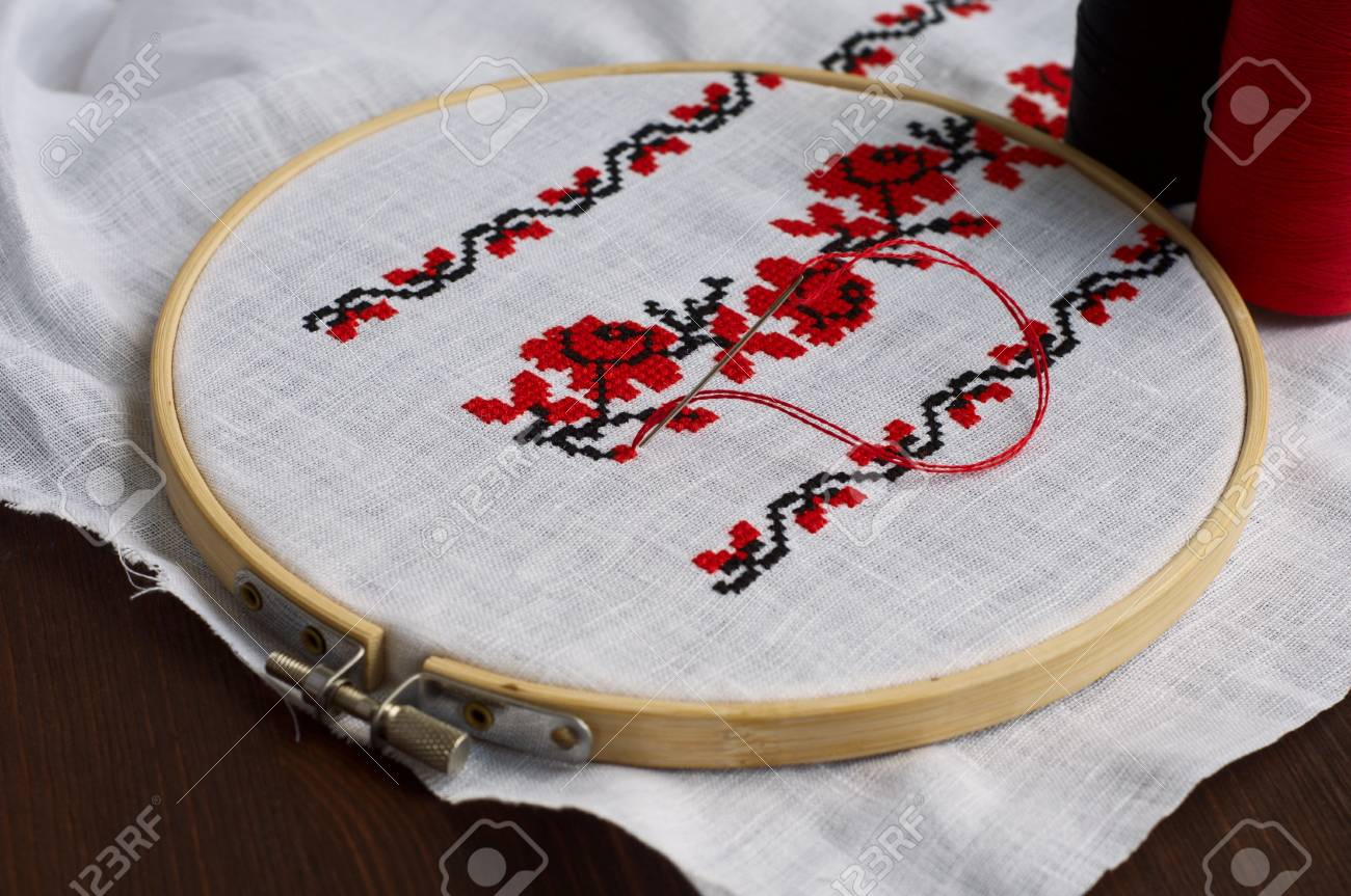 Fragment Of Fabric With Traditional Handmade Wooden Cross Stitch ...