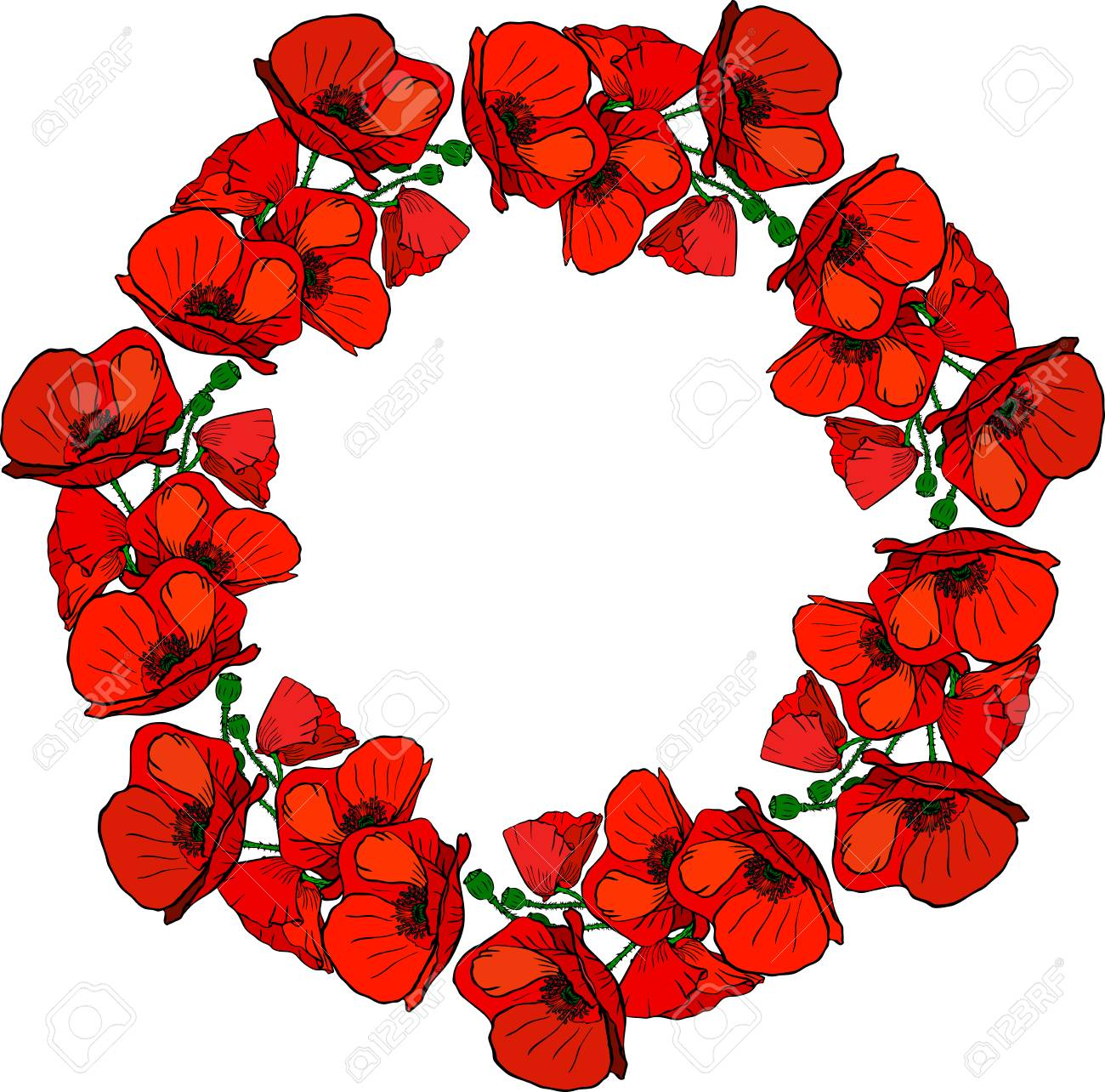 A Round Wreath Of Flowering Red Poppies And Green Stems Isolated