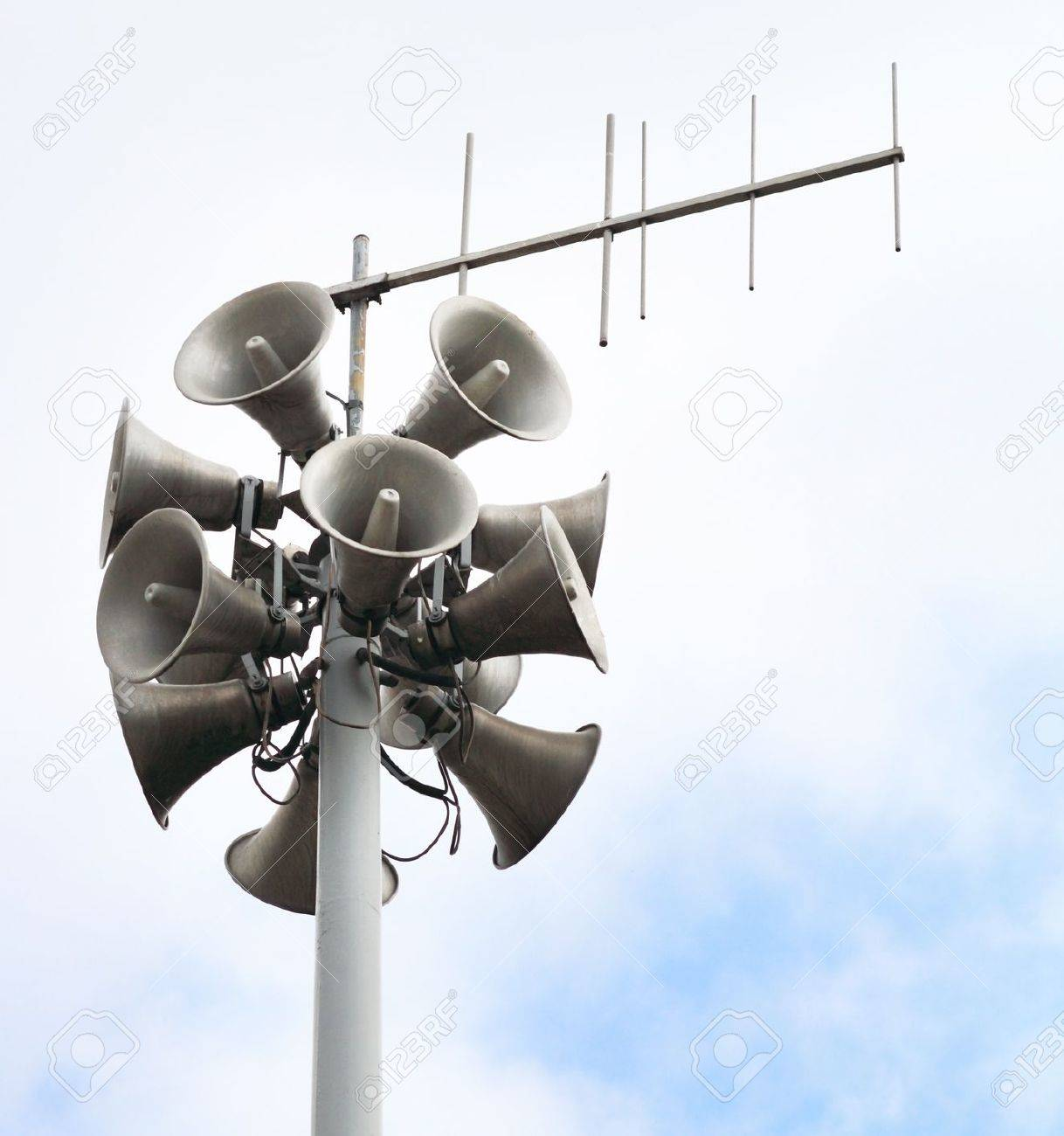 Lots of loudspeakers on a tall column Stock Photo - 10797443