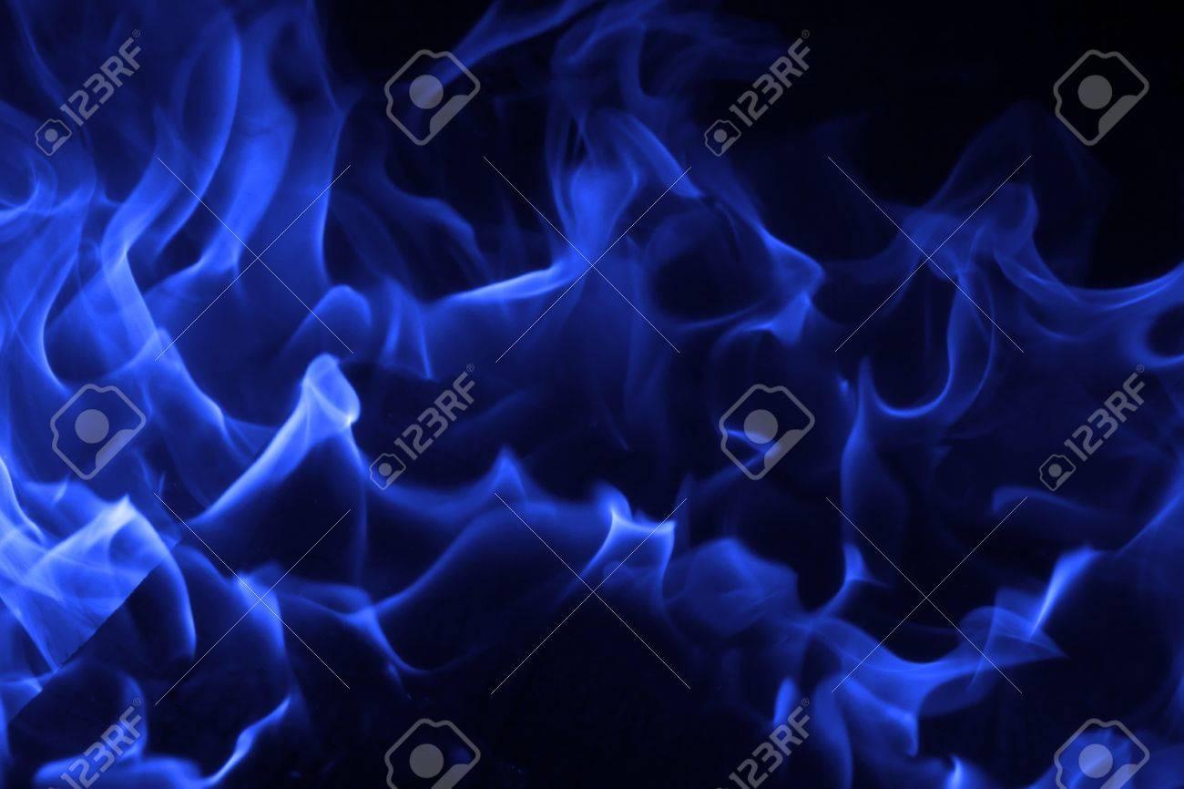 Blue fire on black background Stock Photo - 18386627