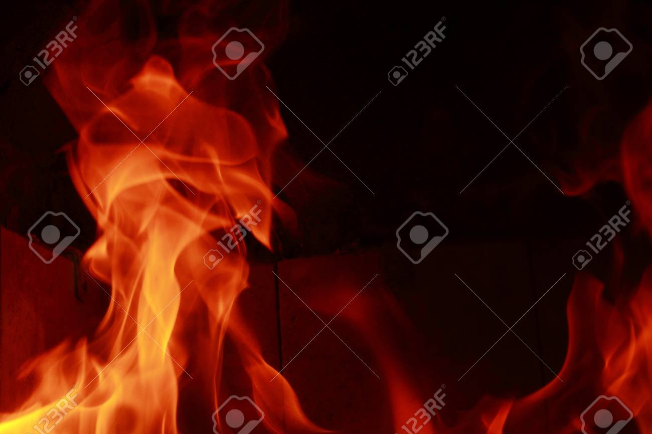 Fire flames with reflection on black background Stock Photo - 20036185