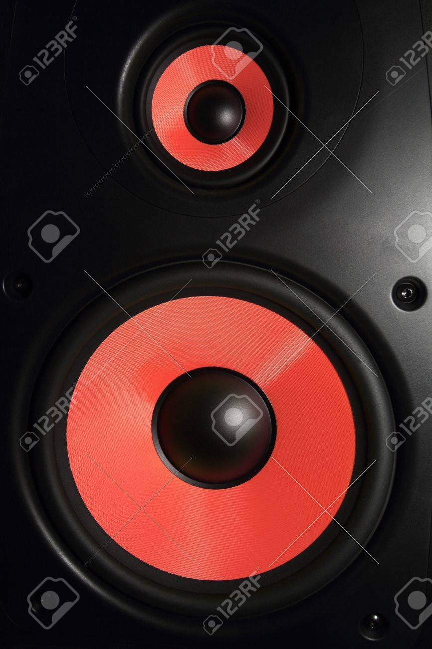 Closeup of a red speaker sub woofer Stock Photo - 21070479