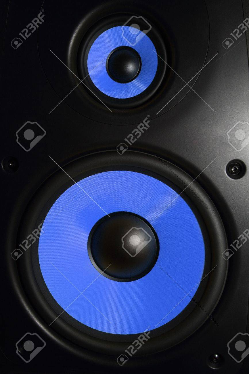 Closeup of a blue speaker sub woofer Stock Photo - 21185588