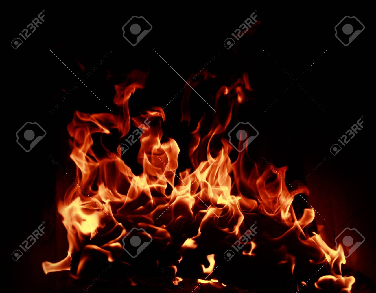 Fire flames with reflection on dark background Stock Photo - 22244263