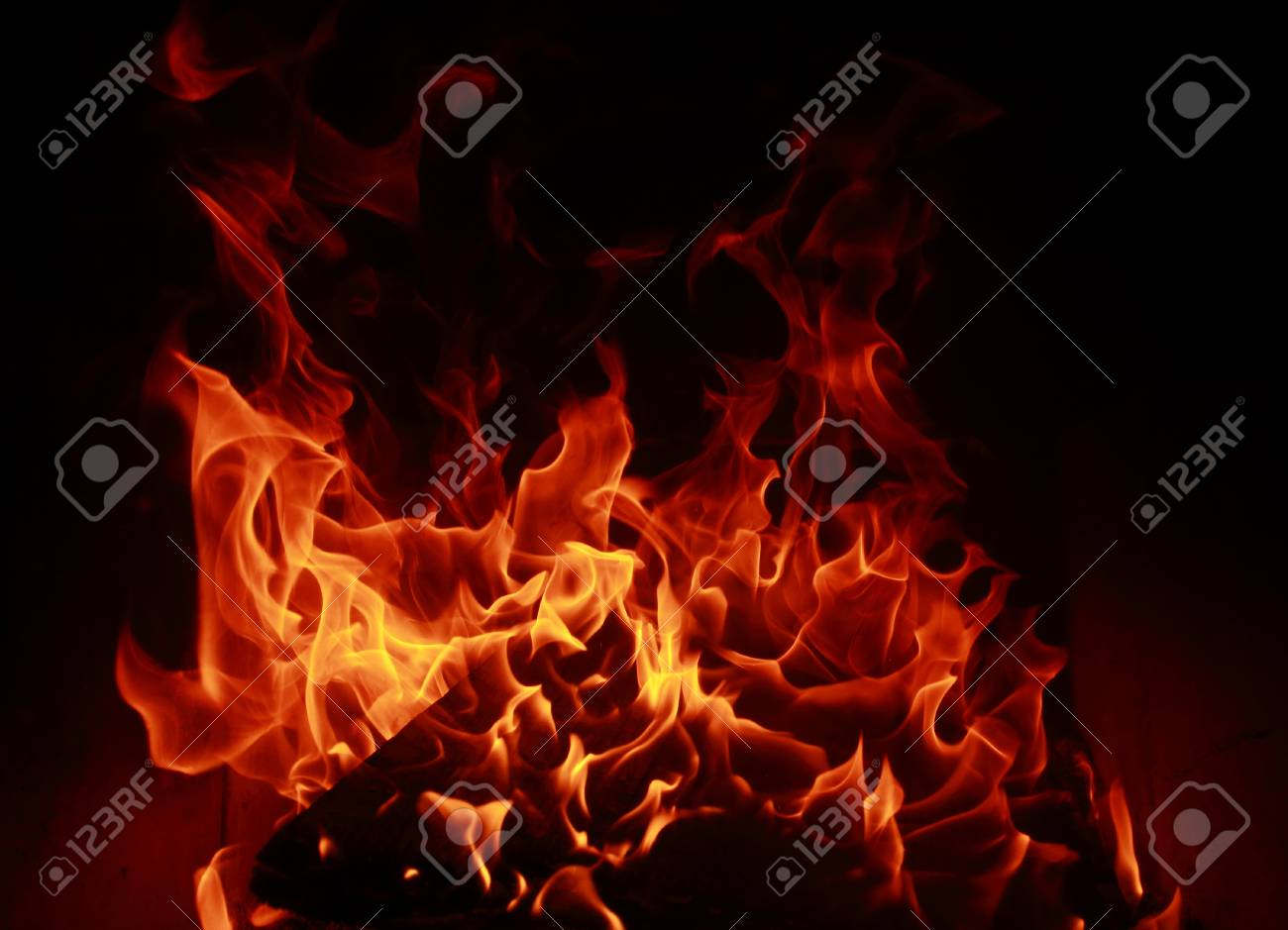 Fire flames with reflection on dark background Stock Photo - 22807428