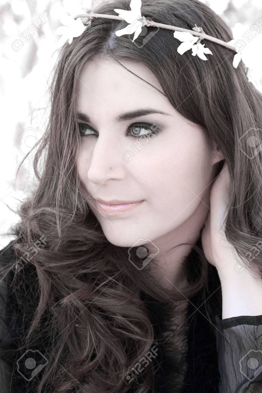 Very nice girl with long brown hair Stock Photo - 28017238