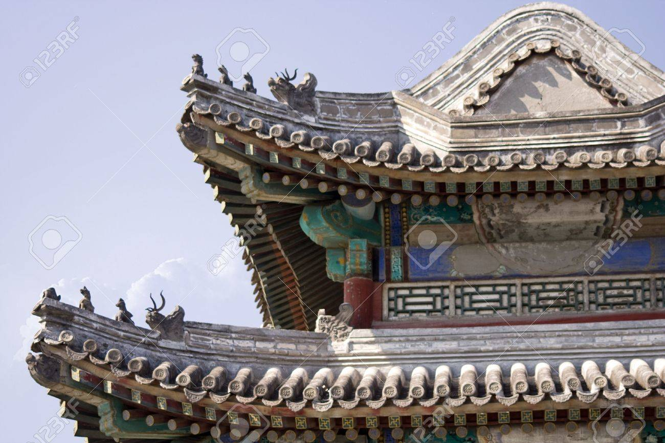 typical chinese pavilion decoration and roof chinese architecture