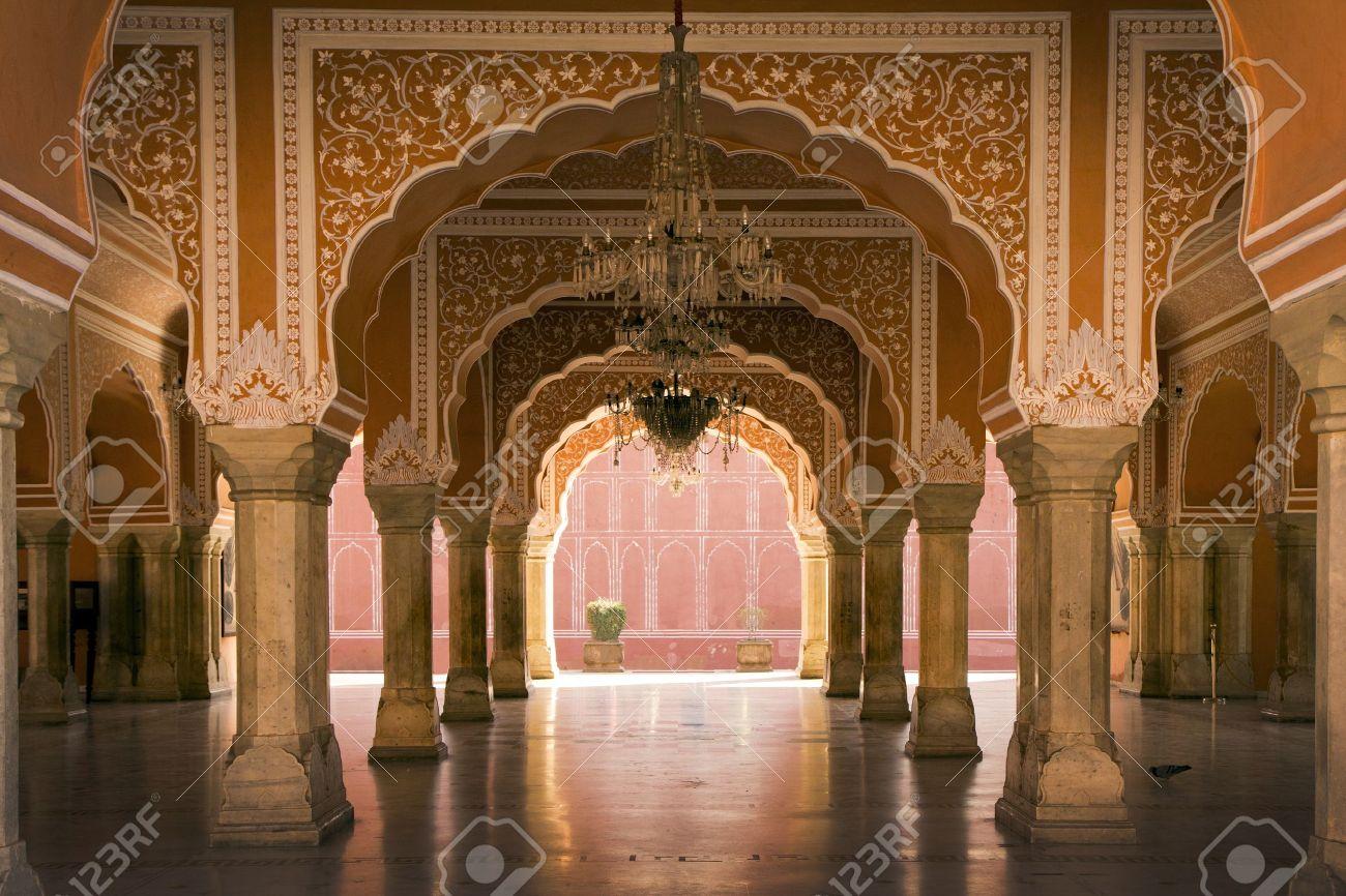 Wonderful Royal Interior In Jaipur Palace, India Stock Photo   17913895