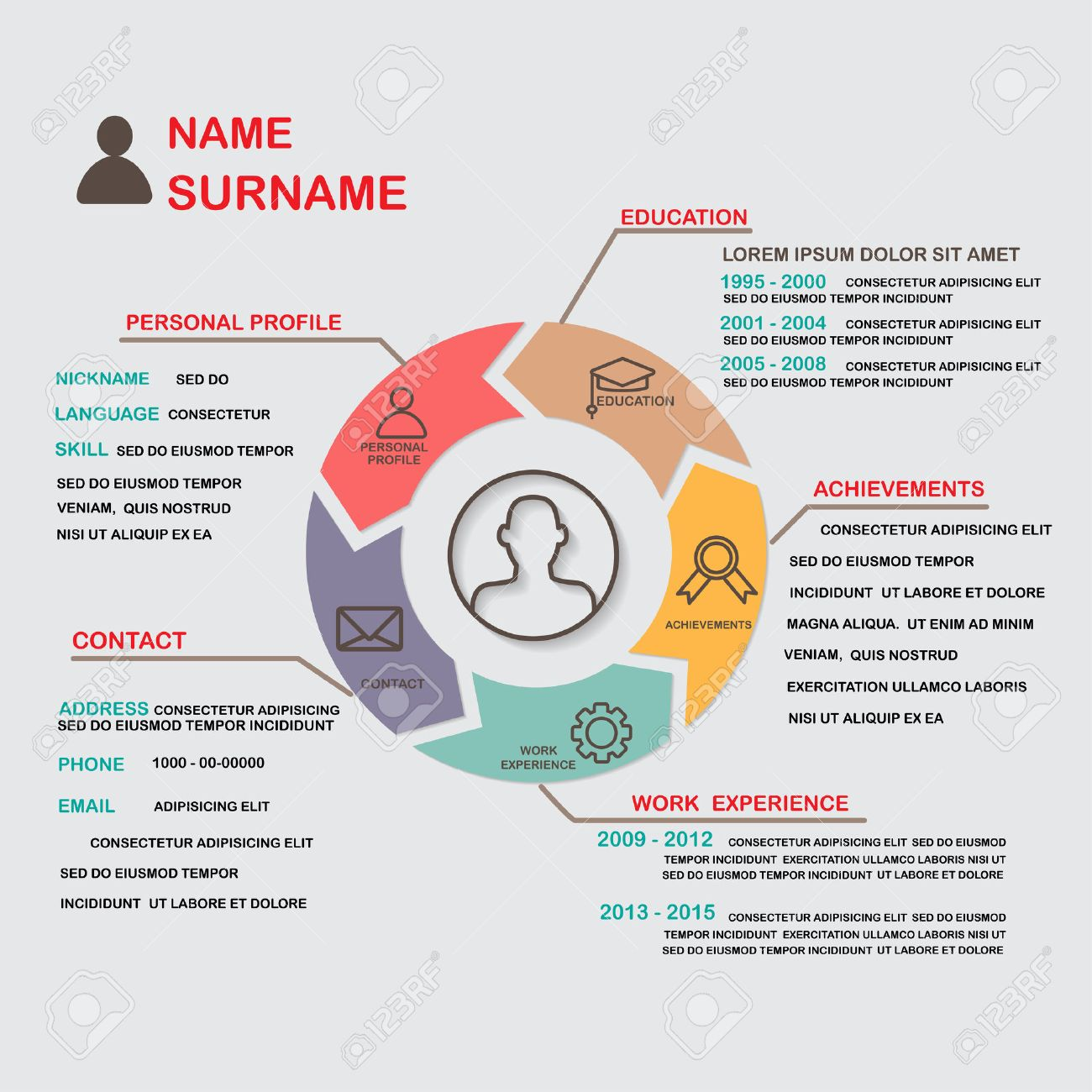 Curriculum Vitae (cv) Plantilla Infografía Fondo Y El Elemento ...
