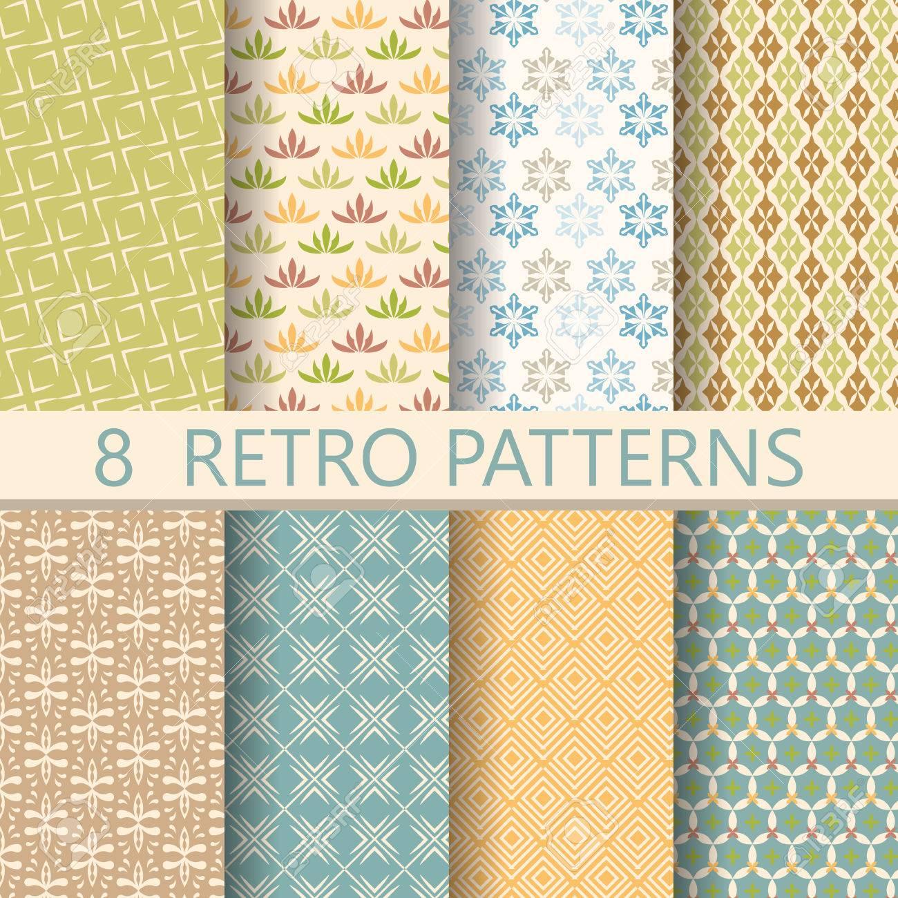 8 Verschiedene Retro Muster, Design Auf Vintage Farben. Endless Textur Kann  Für