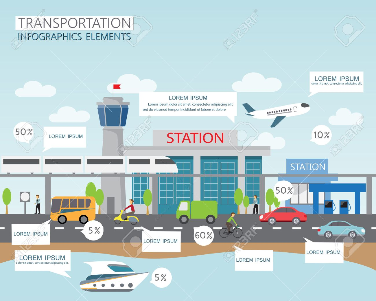 transportation and city traffic infographics element. can be used for workflow layout, diagram, web design, banner template. Vector illustration Stock Vector - 41936378