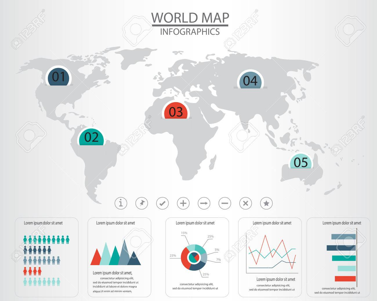 World map and infographics elements can be used for workflow 41936424 world map and infographics elements can be used for workflow layout diagram step up options statistig gumiabroncs Choice Image