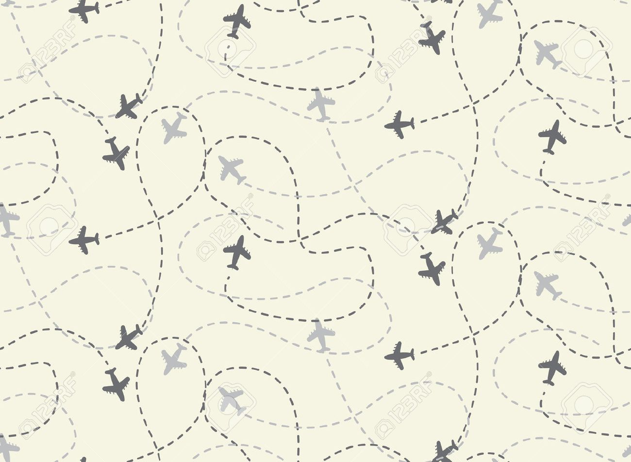 Travel Airplane Routes Seamless Pattern Vector Endless Texture Can Be Used For Wallpaper