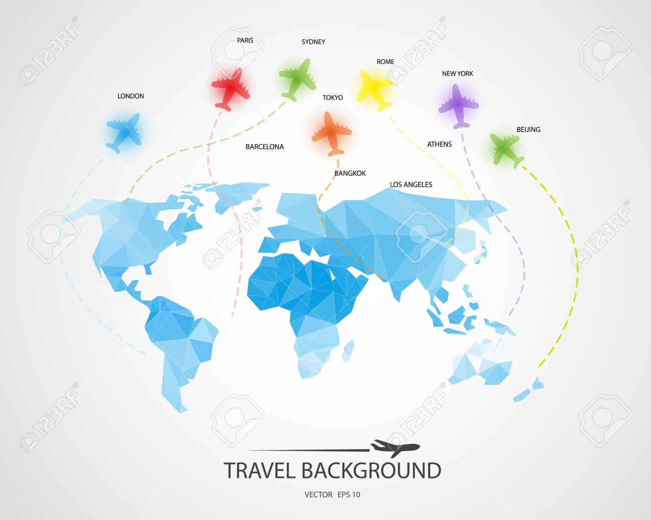 Abstract Map Of The World.Travel Around The World Background Abstract Map Tourism Concept