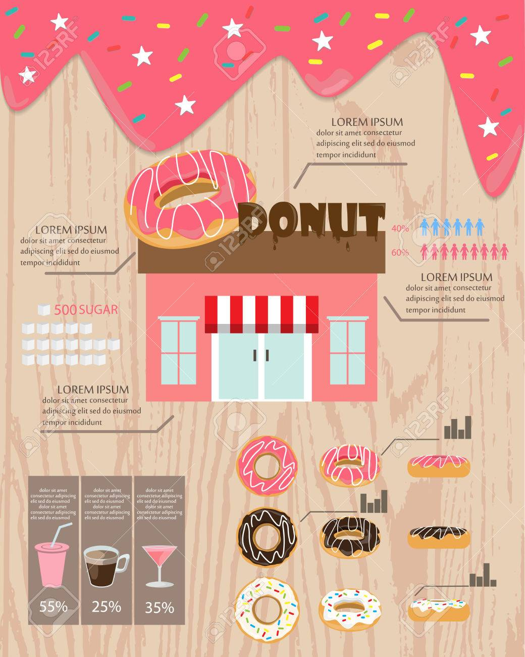 Home Made Donut And Bakery Shop Infographics Background And - Bakery brochure template