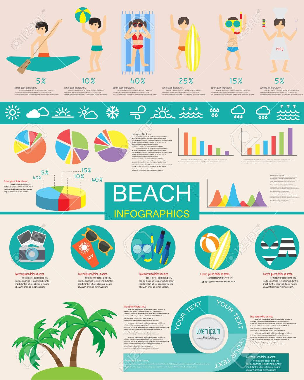 Summer And Beach Infographic Items Are Included Pictogram Bar And