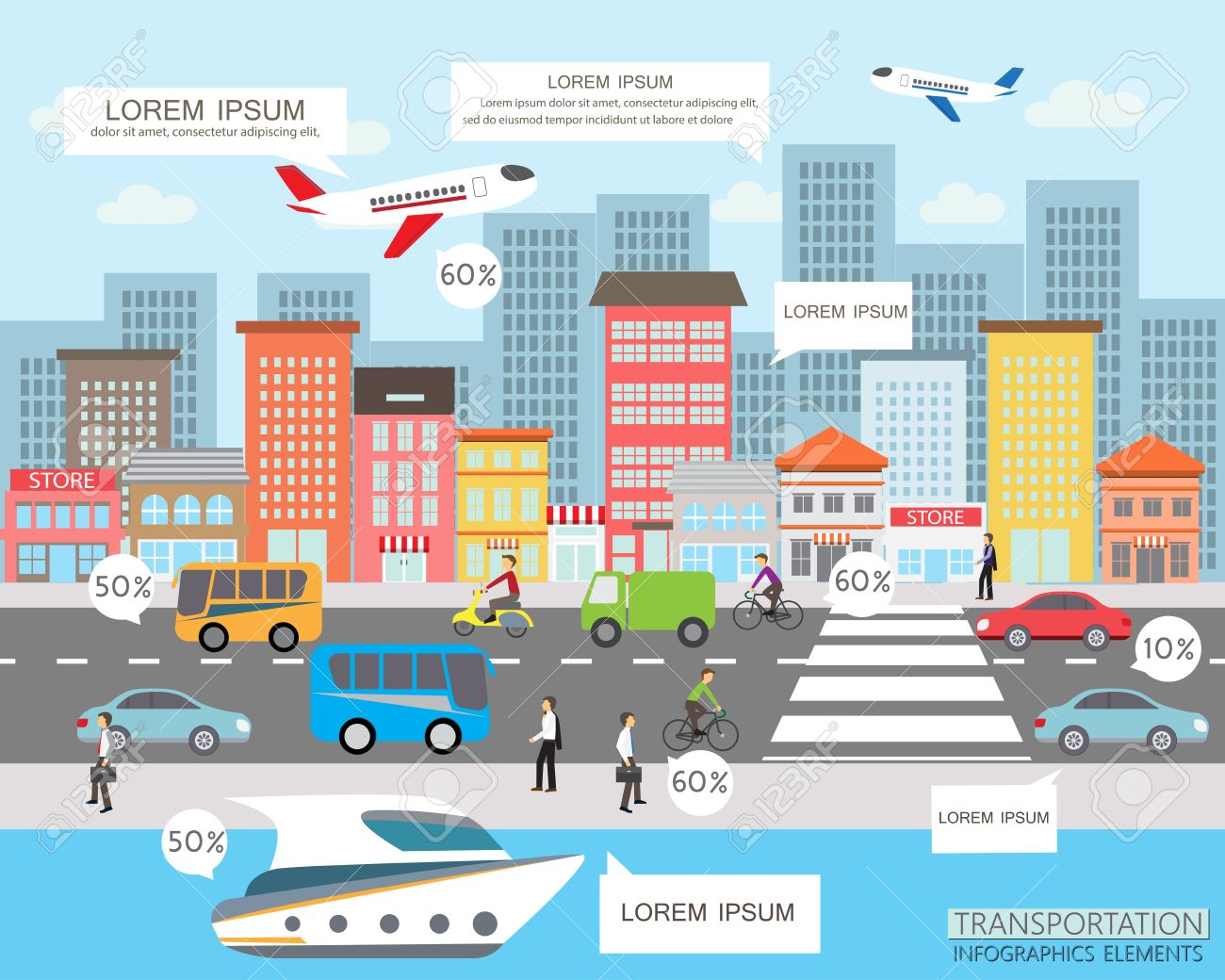 transportation and city traffic infographics element. can be used for workflow layout, diagram, web design, banner template. Vector illustration Stock Vector - 41916048