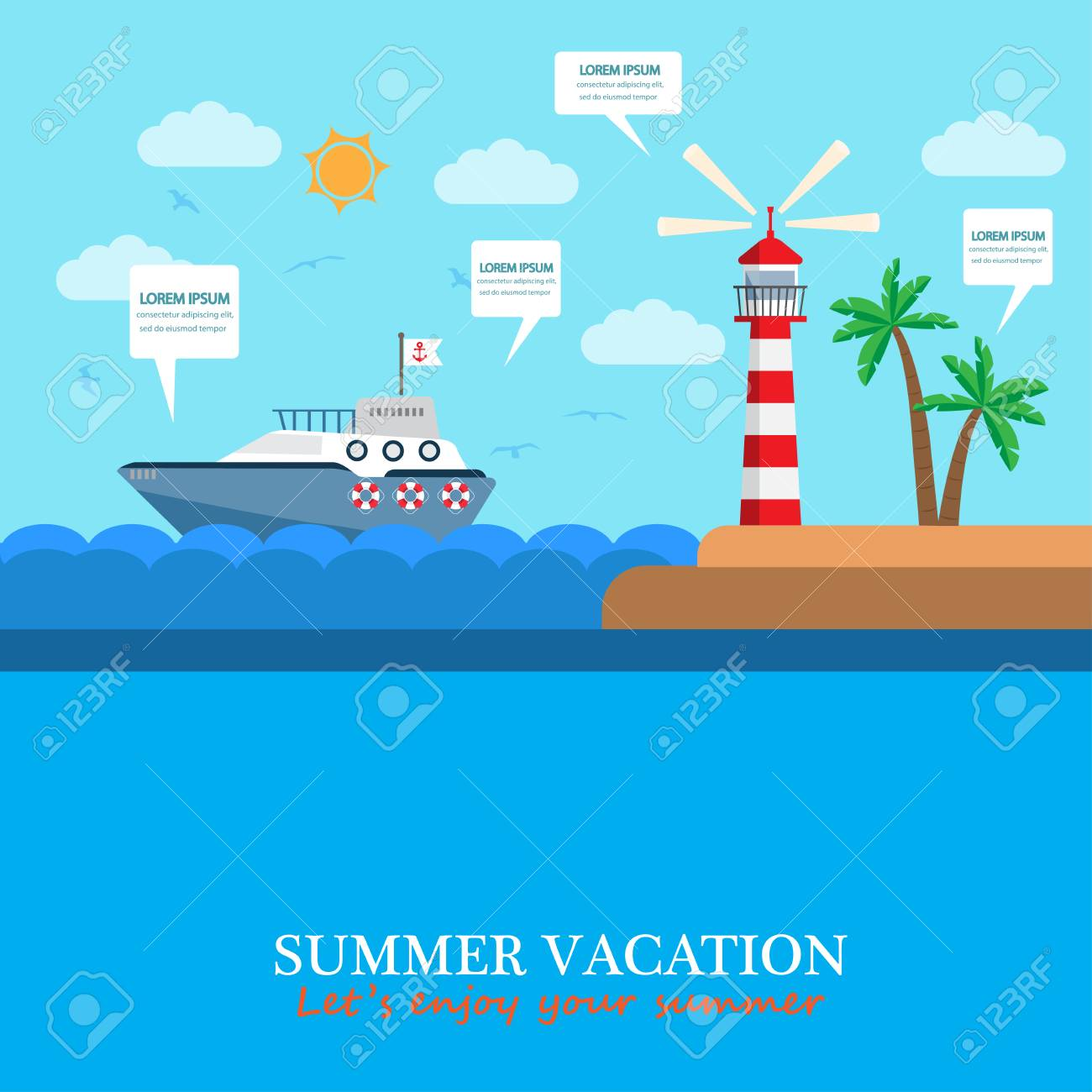 Beach Background For Your Summer Holiday And Vacation. Can Be Used For Cover  Page,