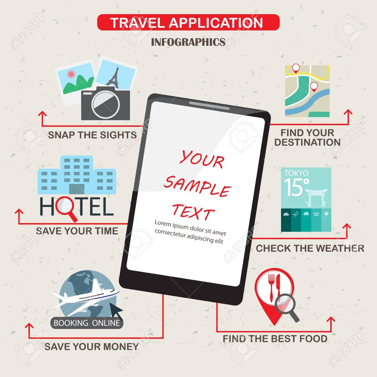 Mobile Anwendungen Für Reise Infografiken Elemente Und Hintergrund ...